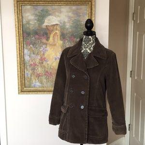 Women's Free People Brown Corduroy Pea Coat (M)